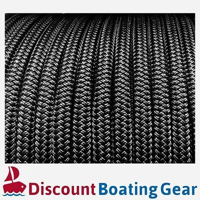 NEW 10mm Solid Black Boat Rope 100m | Double Braid Polyester Yacht Sailing Rope