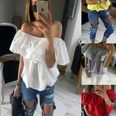 Women Sexy Chiffon Loose Casual Off The Shoulder Shirts Tops Blouse Ladies Tops