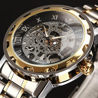 SEWOR Skeleton Dial Mechanical Transparent Stainless Steel Mens Watch P