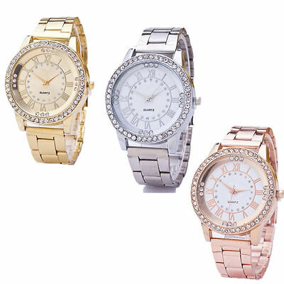 Women Wrist Watchs Bracelet Analog Quartz Stainless Steel Crystal Rhinestone