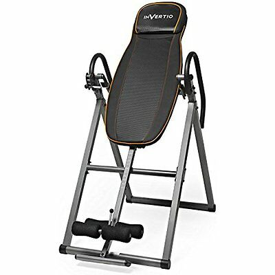 Folding Gravity Inversion Table w/ Padded Backrest Back Fitness Therapy Relief
