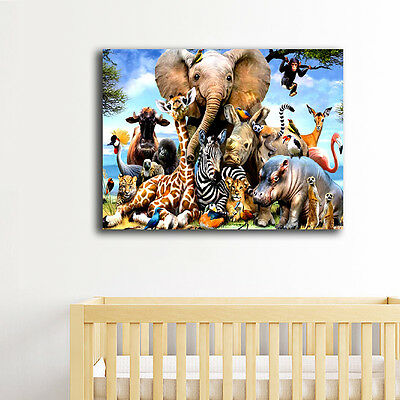 Framed Canvas Prints Stretched Jungle Animals Wall Art Home Decor Painting Gift