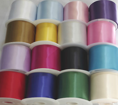 4 inch Sash Ribbon single sided satin polyester in 16 various colours
