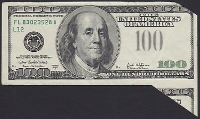 $100 One Hundred US Dollars SERIOUS CUT ERROR MISTAKE 2003