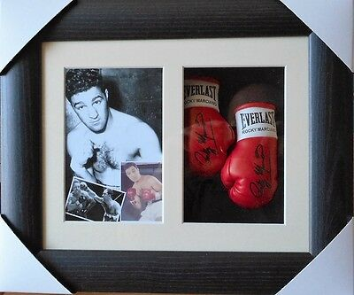 Rocky Marciano Mini Signed Boxing Gloves Framed