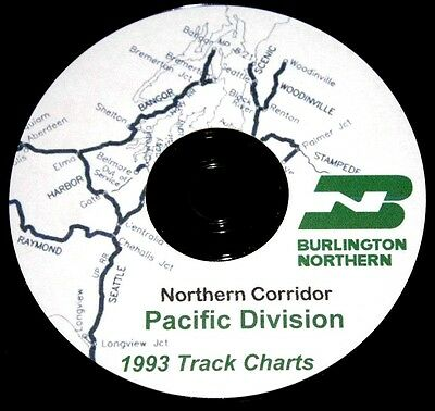 Burlington Northern 1993 Pacific Division Track Charts PDF Pages on DVD
