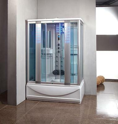1350mm Thermostatic Steam Shower Combined Bath Cubicle Glass Screen Enclosure