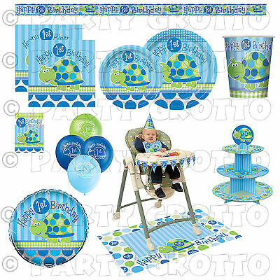 1st / First Birthday Baby Boy Party Supplies TURTLES Tableware & Decorations