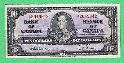 1937 Bank of Canada - $10 Osborne-Towers Bank Note - Fine/Very Fine