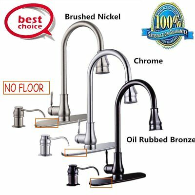 """18"""" Plated Chrome Oil Rubbed Bronze Pull Out Kitchen Faucet +Soap Dispenser EM"""
