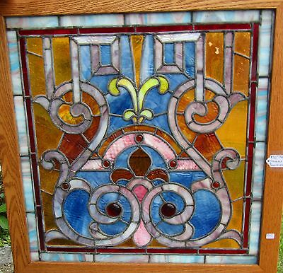 Antique Stained Glass Window - 26 By 27