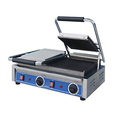 Globe GPGDUE10 Double Countertop Electric Bistro Panini Grill / Grooved Plates