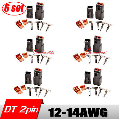 6set DT Connector 2 Pin Male and Femal 14-16 AWG Solid Contacts Deutsch Kit