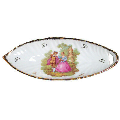 "Limoges Porcelain candy dish with ""couple"" design fine china made in France"