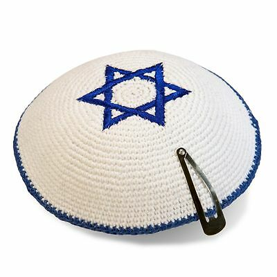 Blue White Star Of David Knitted Yarmulke Kippah 16 cm Kippa Cupples Free Clip