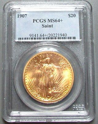 1907 Gold Usa Saint Gaudens Pcgs Mint State 64+ $20 Double Eagle Coin
