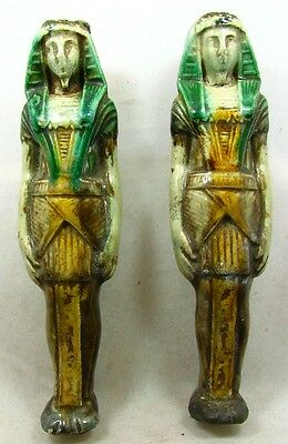 Pair Of Egyptian Faience Pharaoh Figures *antique*