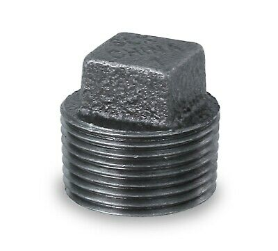 """Everflow Supplies Bmpl1140 Black Malleable Iron Plug With Square Head, 1-1/4"""""""