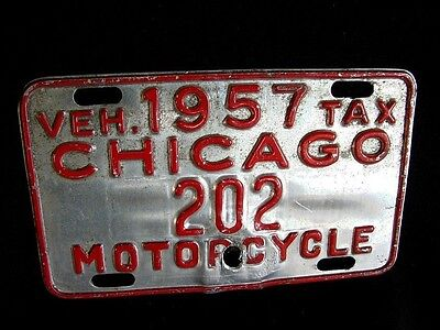 1957 Chicago Motorcycle License Plate Tax Tag Harley