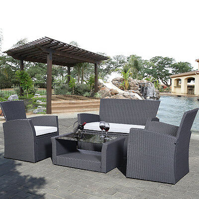 4PC Rattan Sofa Dining Set Garden Furniture Patio Conservatory Wicker Outdoor