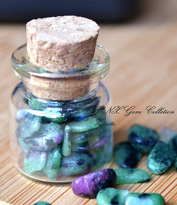 Mini Glass Jar Bottle w Natural Crystal Gemstone Zoisite with Ruby Chipstones