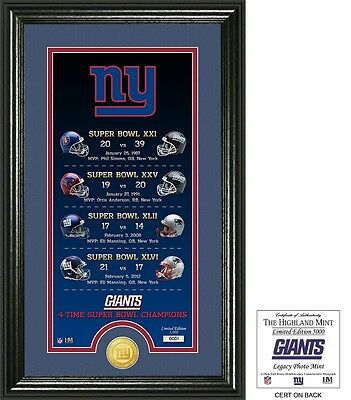New York Giants 4X time Super Bowl Champions 5 Coin Gold Coin Set ...