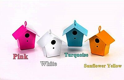 "HANGING MINIATURE PAINTED METAL BIRDHOUSE FAIRY GARDEN 4 COLORS 1.5"" Free Pole"