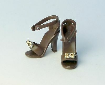 Barbie Accessories new brown rhinestones high heels sandals boots shoes S800036A