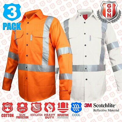 3x HI VIS SAFETY FULL ORANGE COTTON DRILL WORK SHIRT,3M CROSS BACK REFLECTIVE
