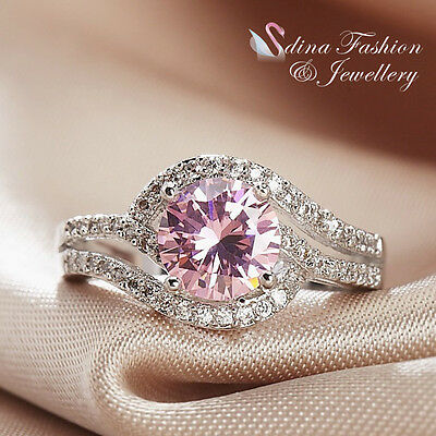 18K White Gold Plated Made With Swarovski Element Baby Pink Engagement Ring