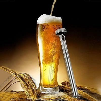 2x Stainless Steel Beer Chiller Stick Drinks Cooler Ice Cooling Chilling K8S1