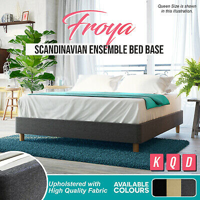 NEW Upholstered Fabric BED BASE Queen King Size Charcoal Wooden Frame Grey Beige