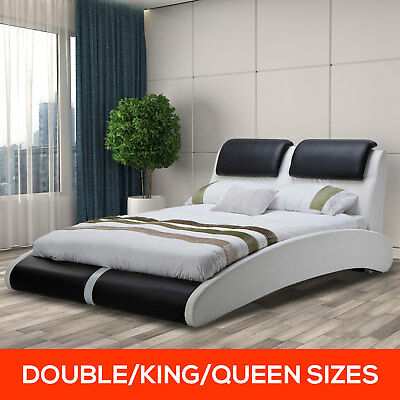 Modern Deluxe Pu Leather Bed Frame Luxury Double Queen King Sizes Black & White