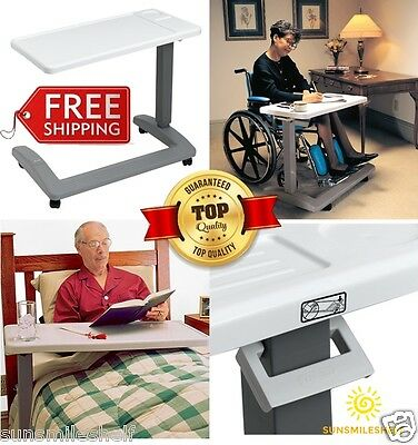 Medical Bed Table Beside Chair Overbed Tray Wheels Patient Elder Home Hospital