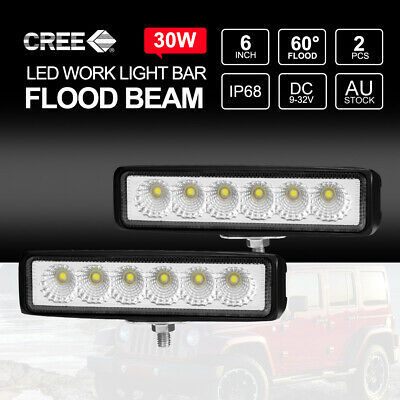 2x 6 inch 30W LED Light Bar CREE Flood Work Off Road 4x4 4WD UTE Truck Fog Lamp