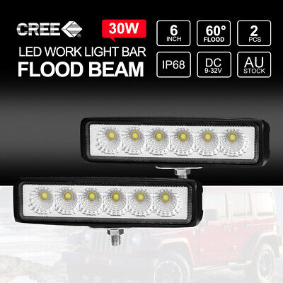 Pair 6 inch 30W CREE FLOOD LED Light Bar Work Driving Fog Off Road Truck 6000LM