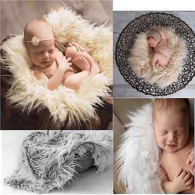 Newborn Infant Baby Soft Faux Fur Rug Mat Blanket Backdrop Photography Props