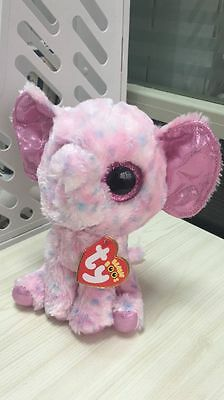 "Soft Toy FROM TY BEANIES BOOS STUFFED ~ELLIE the Elephant 6"" Defect eye"