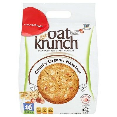 Munchy Oat Crunch Wholegrains Cookies Chunky Organic Hazelnuts 16 packs
