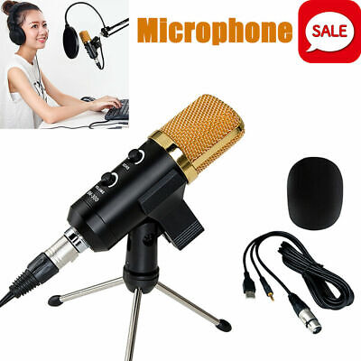 Pro Audio Condenser Microphone Mic USB Studio Sound Vocal Recording w/Boom Stand