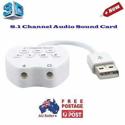 New 3D/ 8.1 Channel USB Sound External Audio Adapter Converter Cable win7/8 Mac