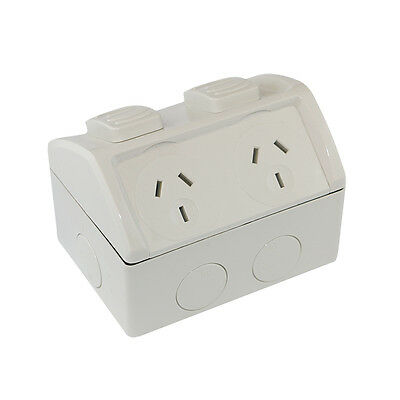 Weatherproof Double Power Point - 10 Amp IP53 GPO 10A Powerpoint Socket Outlet