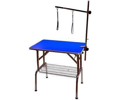 "BLUE 32"" Emperor Fold Flat Dog Grooming Table + Grooming Arm & Restraint Noose"