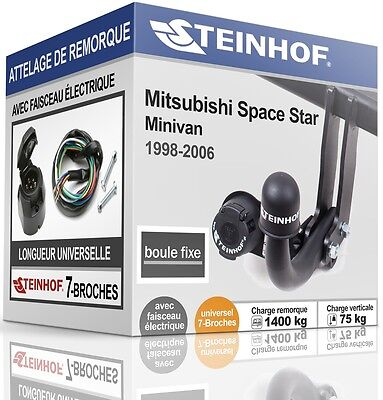 ATTELAGE fixe MITSUBISHI SPACE STAR 1998-2006 + FAISC.UNIV.7 broches COMPLET
