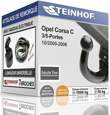 ATTELAGE fixe OPEL CORSA C 3/5-Portes 2000-2006 + FAISC.UNIV.7 broches COMPLET