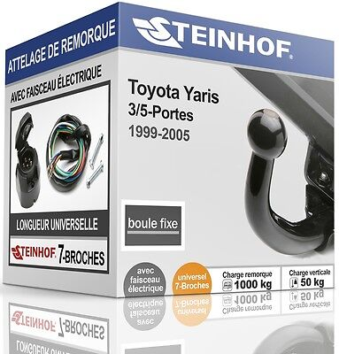 ATTELAGE fixe TOYOTA YARIS 3/5-Portes 1999-2005 + FAISC.UNIV.7-broches COMPLET