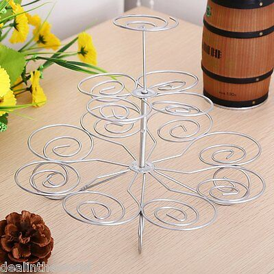 Detachable 3 Layers Iron Cake Stand 13 Cupcake Holder