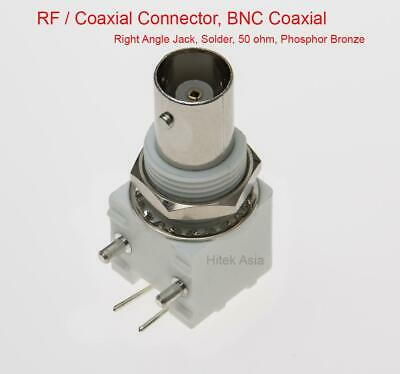 RF BNC Coaxial Connector, Right Angle Jack, Solder, 50 ohm, Phosphor Bronze