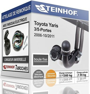 ATTELAGE fixe TOYOTA YARIS 3/5-Portes 2006-2011 + FAISC.UNIV.7-broches COMPLET