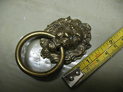 Vintage    Lion Head  Cast  Brass   Drawer  Pull Ring Kb04  H377  Very Nice !